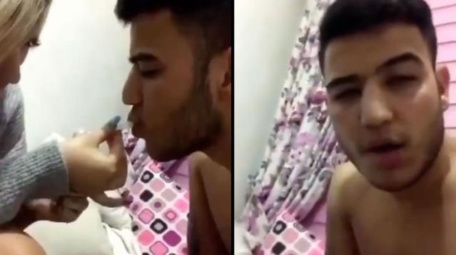 Aleyna Çakır olayının baş şüphelisi Ümitcan Uygun canlı yayında kız arkadaşının elinden uyuşturucu içti