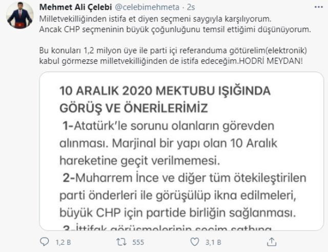 CHP'den istifa eden 3 vekilde biri olan Mehmet Ali Çelebi, vekillikten istifa için şartını açıkladı