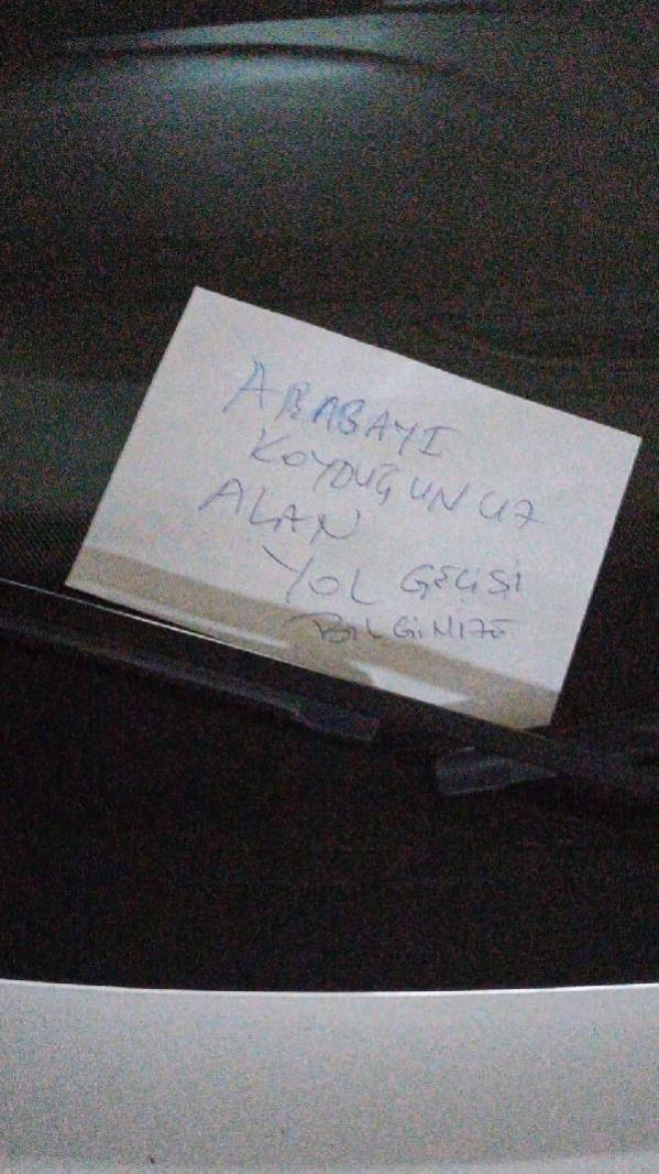 Hatalı park eden savcının aracına not bırakan komşusu gözaltına alındı