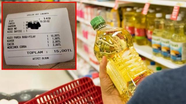 5 litrelik yağa 70 TL ödeyen vatandaş, Meclis lokantasındaki 15 TL'lik yemek fişine isyan etti