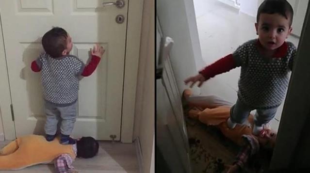 Birbirlerinin üzerine basarak kapı açan 1.5 yaşındaki ikizler şoke etti