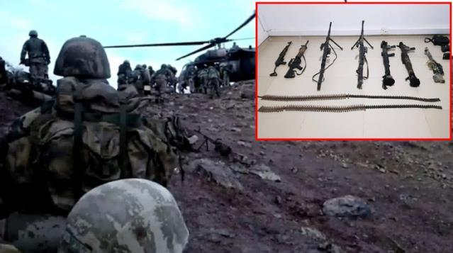 PKK'nın 13 vatandaşımızı şehit ettiği mağarada çok sayıda silah ve mühimmat ele geçirildi