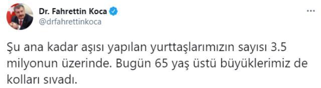 Son Dakika! Türkiye'de şu ana kadar koronavirüs aşısı yapılan vatandaşların sayısı 3,5 milyonu geçti