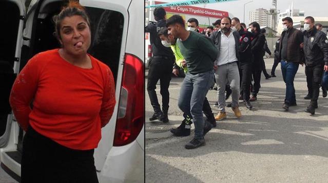 Taşlı, tüfekli, bıçaklı, sopalı kavgaya gözaltına alınan kadının dil çıkarması damga vurdu