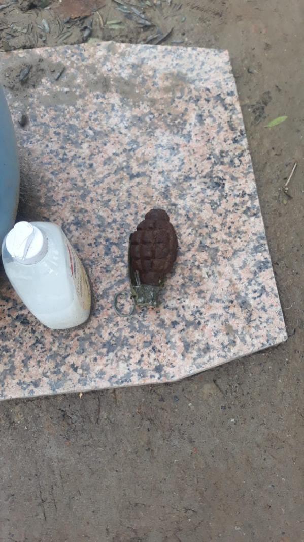 Fidan dikmek için kazdığı çukurda el bombası buldu