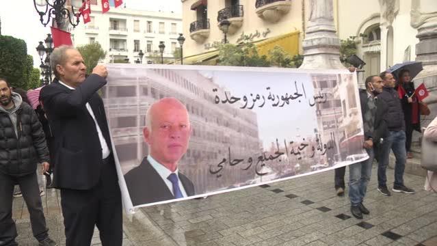 Tunus'ta meclisin feshedilmesi talebiyle gösteri düzenlendi