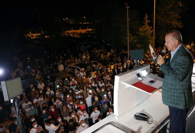 """Erdoğan: """"(Yangınlarda terör şüphesi) Şimdiden bazı emarelere ulaşıldı, gereğini yapacağız"""""""